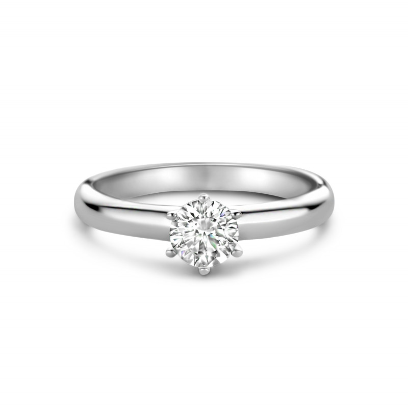 Zilveren solitaire ring gezet met zirkonia steen van 5mm