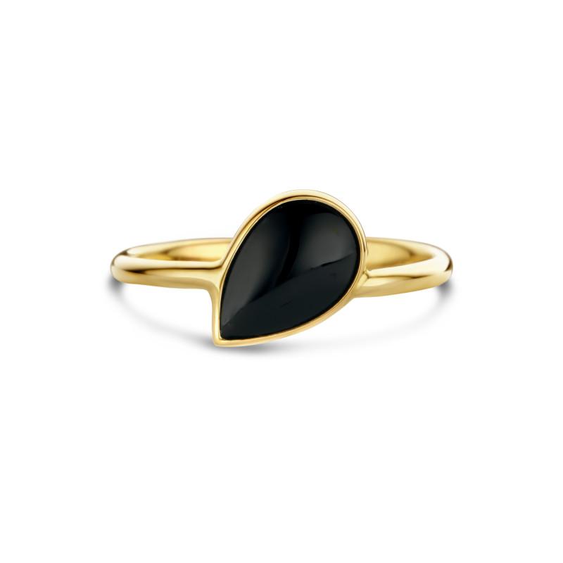 Geelgouden ring met onyx AG882-1031