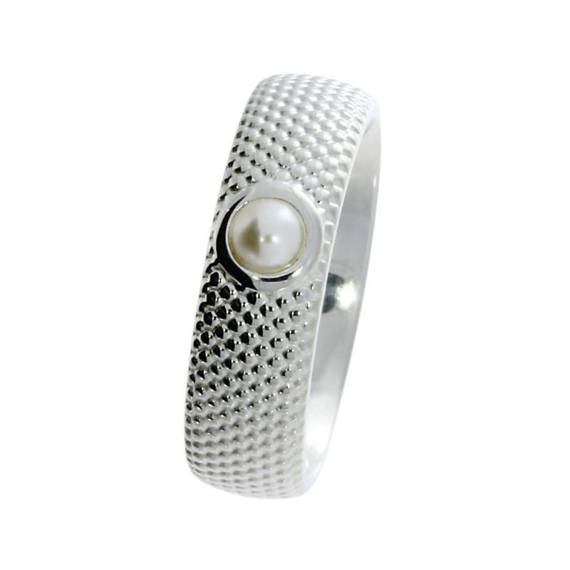 Zilveren ring met parel 210200-E