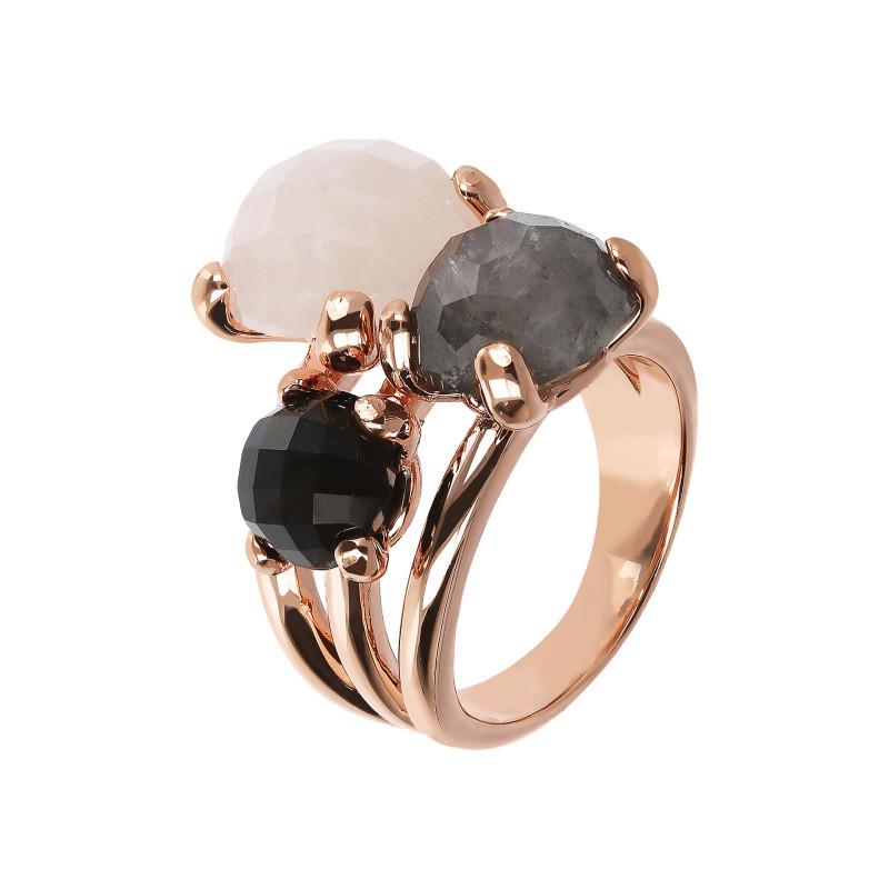 Rosé ring met kwarts en onyx WSBZ01668