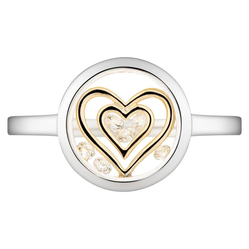Zilveren ring Double Heart R4695-YCZ