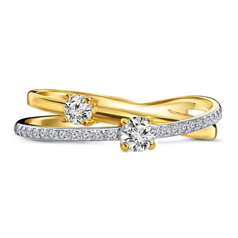 Geelgouden ring met zirkonia T307018633-Z