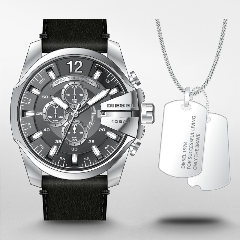 Mega Chief Chronograaf Zwart Leren Horloge en Ketting