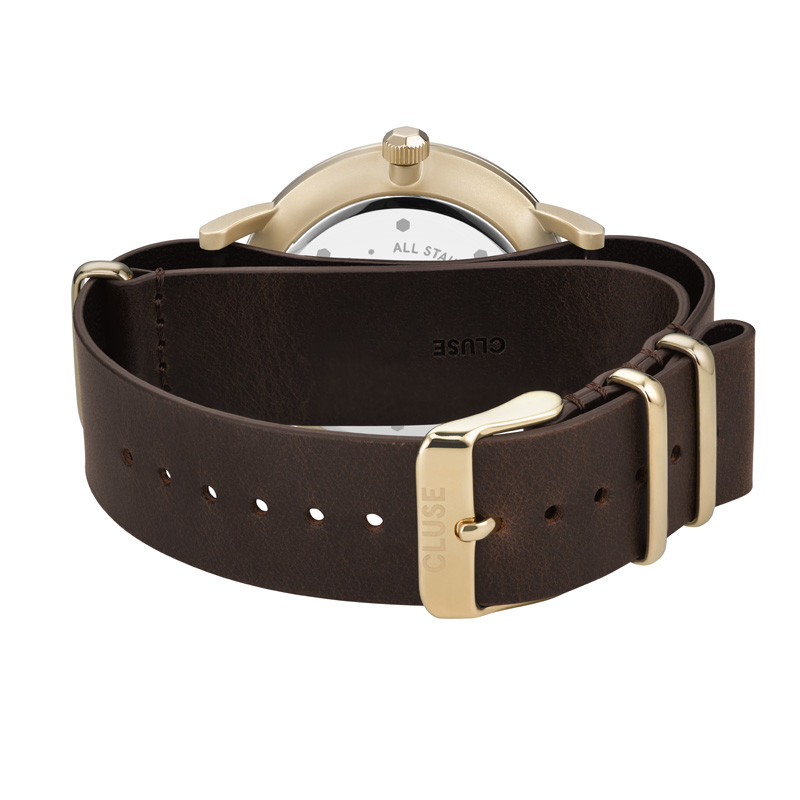 Aravis Nato Leather Gold White/Dark Brown