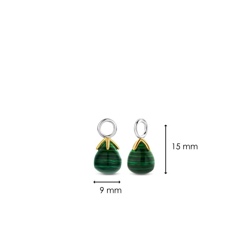 Zilveren oorbedels met malachiet 9216MA