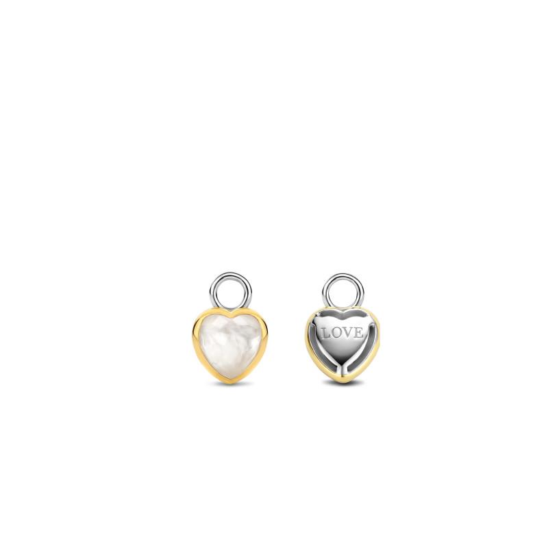 Gold plated oorbedels met parelmoer 9238MW