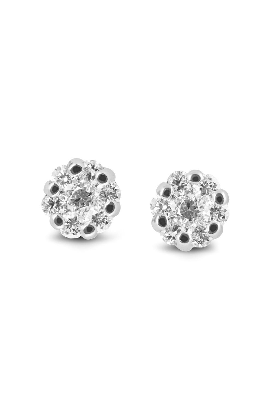 Witgouden oorknoppen met diamant E01-33621