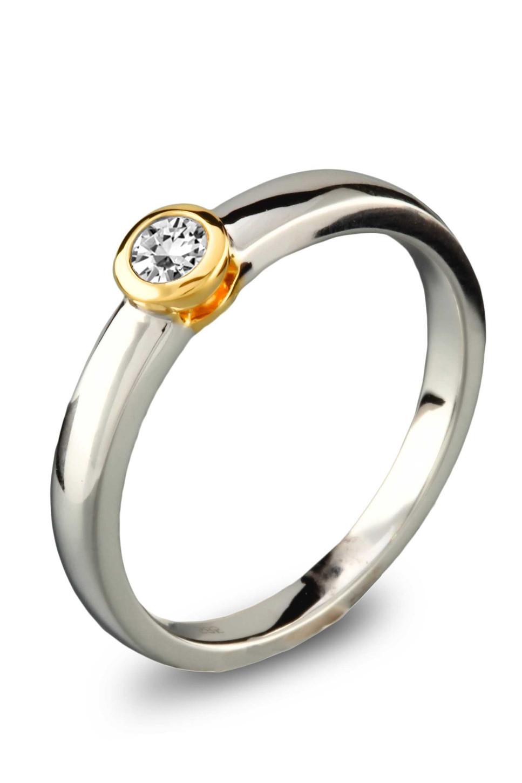 Gouden bicolor ring 0,2crt SOL-M948-020-G2