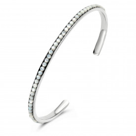 Zilveren bangle met parels 9SY-0068