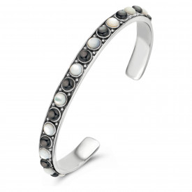 Zilveren bangle met parels 9SY-0081