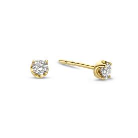 Geelgouden solitair oorknoppen met diamant 0.34 ct