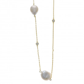 Collier met parel en zirkonia