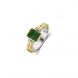 Gold plated ring met zirkonia 12242MA