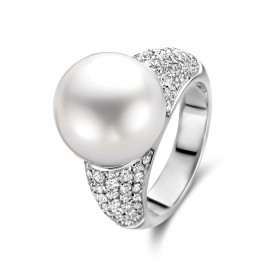 Witgouden ring met parel en diamant ZZ1-09293-W