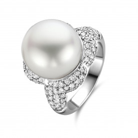 Witgouden ring met parel en diamant ZZ1-09296-W