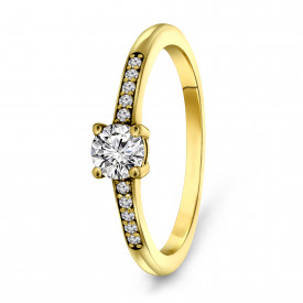 Gold plated ring met zirkonia 01.114Z.35