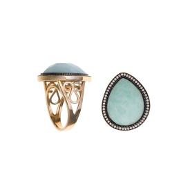 Rosé vergulde ring met zirkonia en amazoniet
