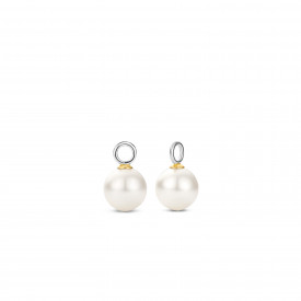 Gold plated oorbedels met parel 9236PW
