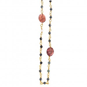 Collier met agaat en tourmalijn 167C0153