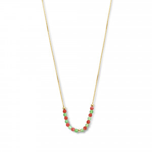 Geelgoud collier met agaat en jade FG310-989