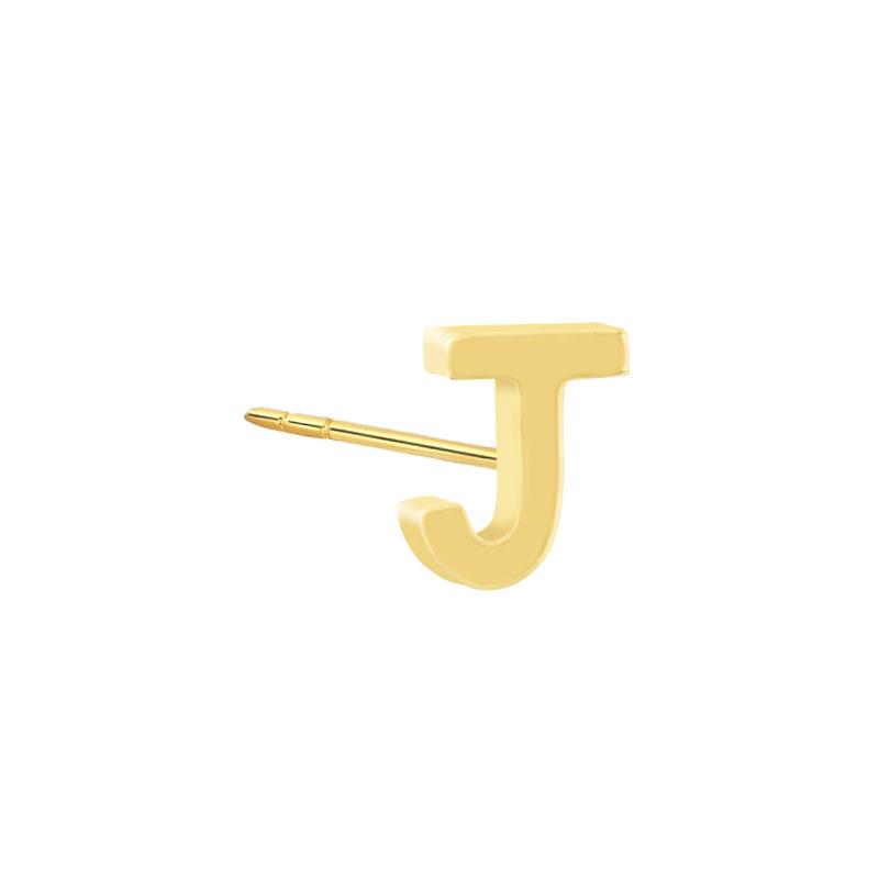 Geelgouden oorknop 'J'
