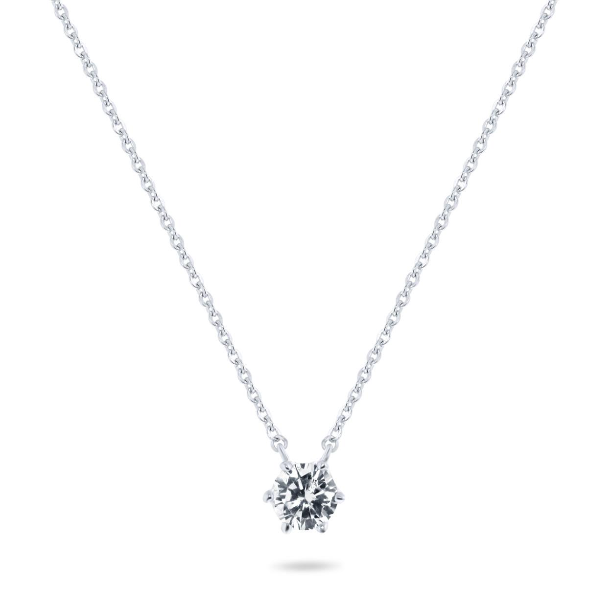 Zilveren collier met zirkonia steen van 5mm