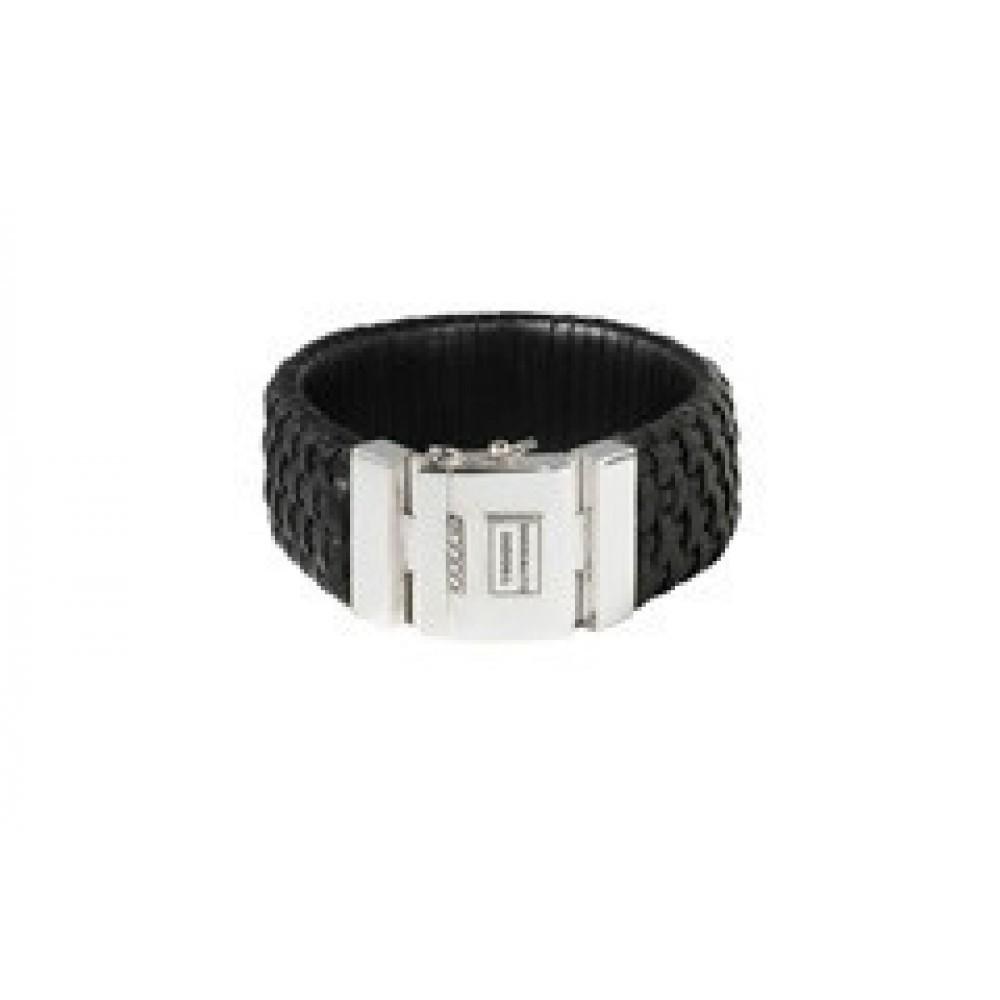 Leren armband Maarten big black 555BL/S
