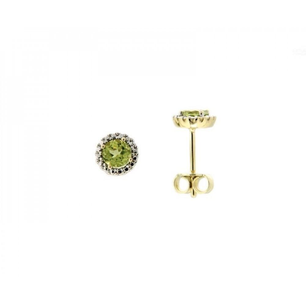 Geelgouden oorknoppen met zirkonia en kleursteen 350478