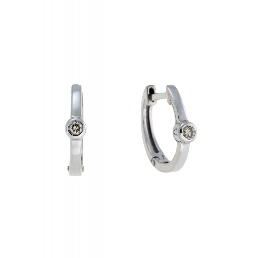 Witgouden creolen met diamant E01-BS-0105