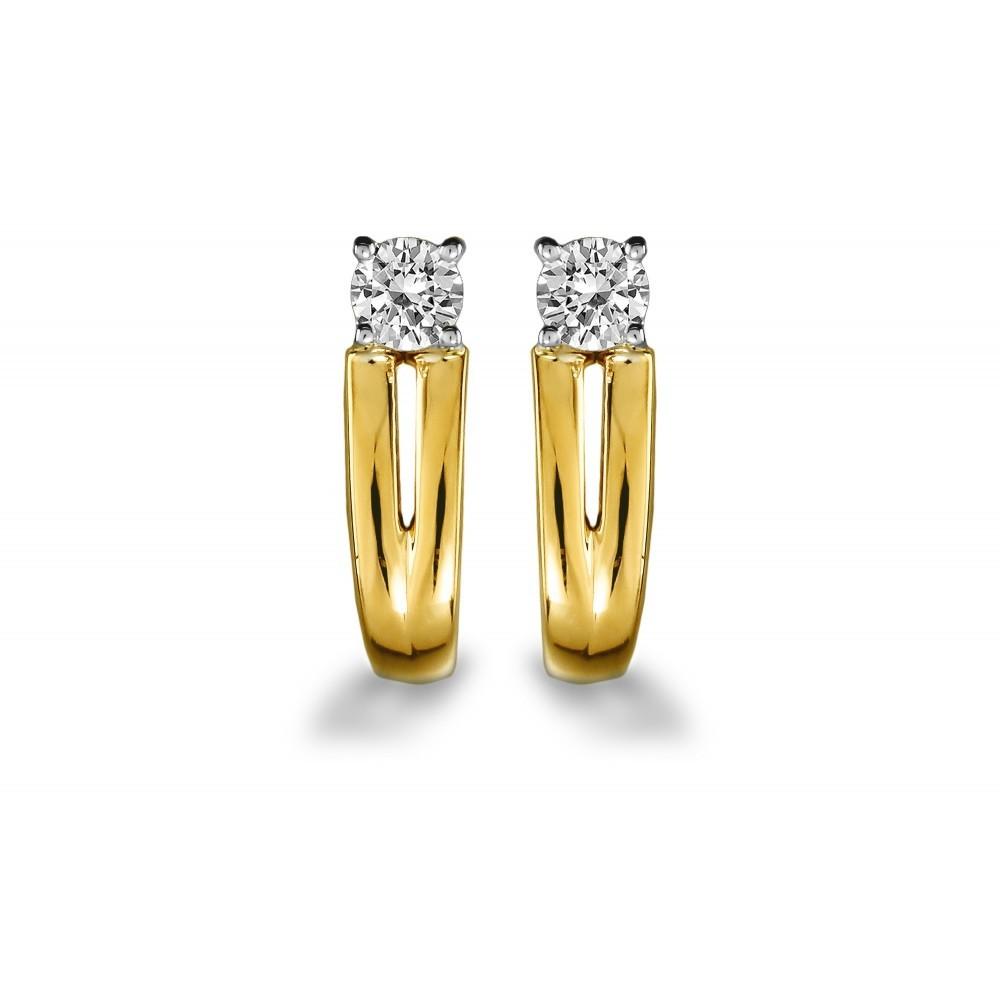 Gouden bicolor oorknoppen 0,24crt SOL-M928-010-G2