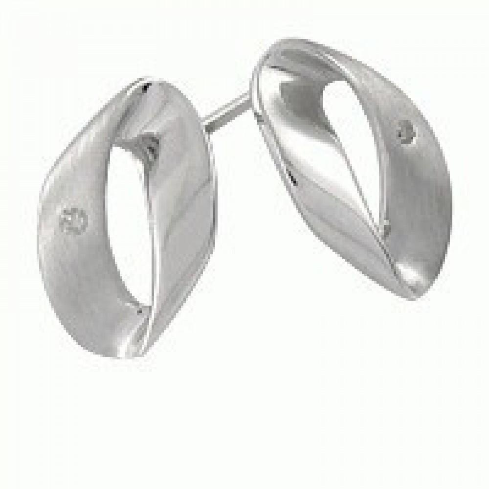 Zilveren oorknoppen met diamant ENC12213003
