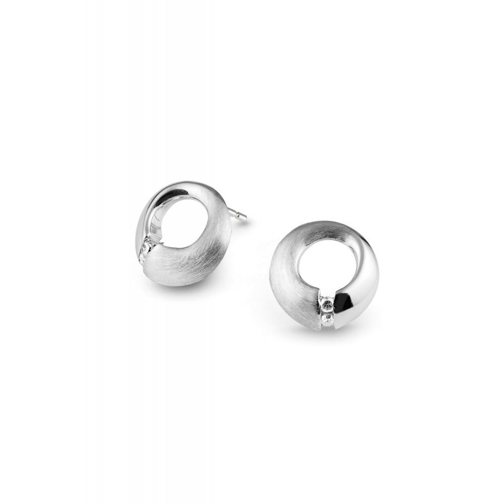 Zilveren oorknoppen met diamant ENC16102001