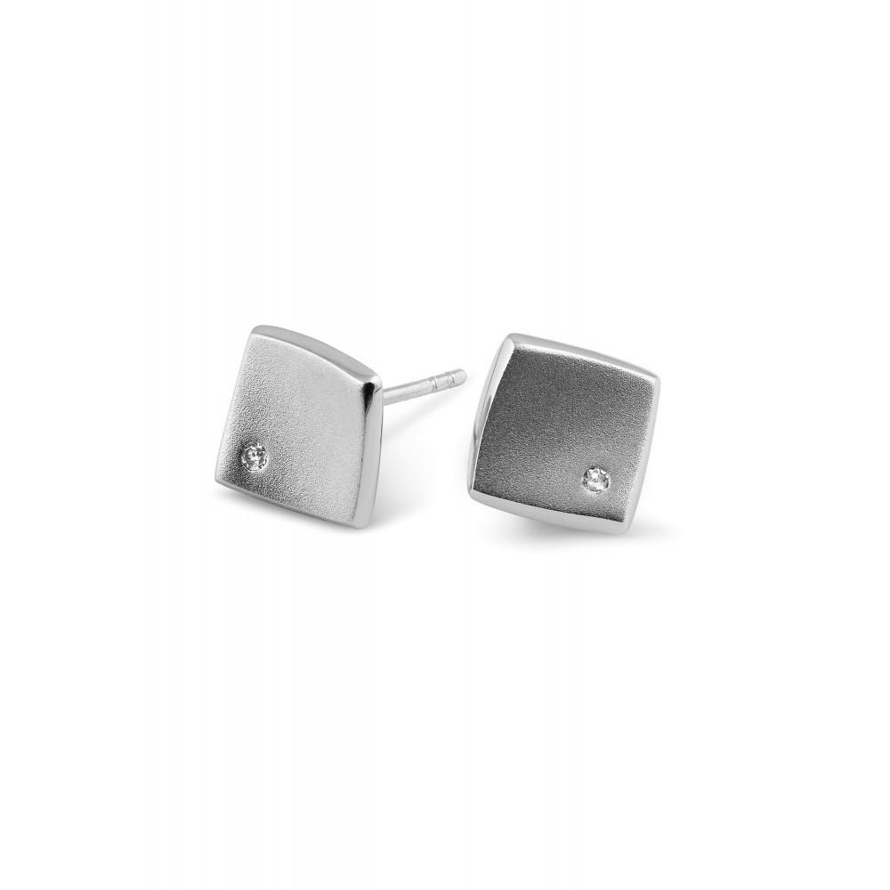 Zilveren oorknoppen met diamant ENC16747003