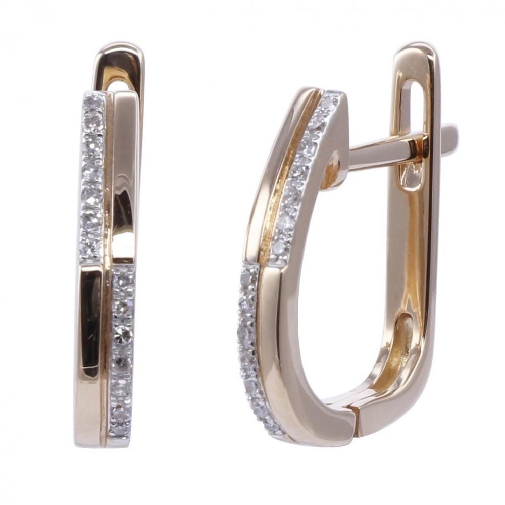 Geelgouden oorhangers met diamant A010006-DDRE-MS