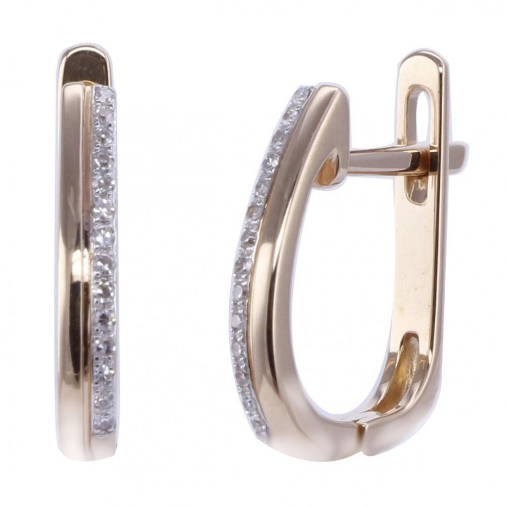 Geelgouden oorhangers met diamant A010008-DDRE-MS