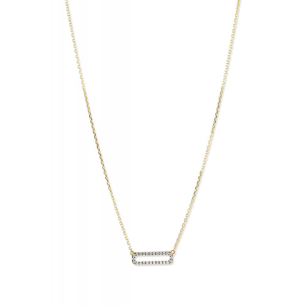 Geelgouden collier met zirkonia PAU0139