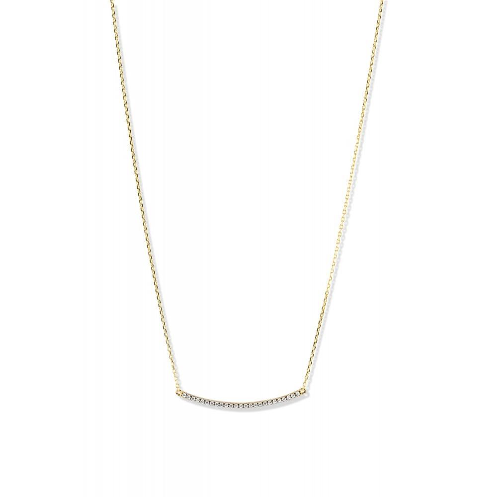 Geelgouden collier met zirkonia PAU0168