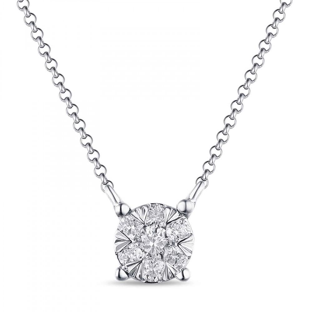 Witgouden dames collier met diamant 1851489DD