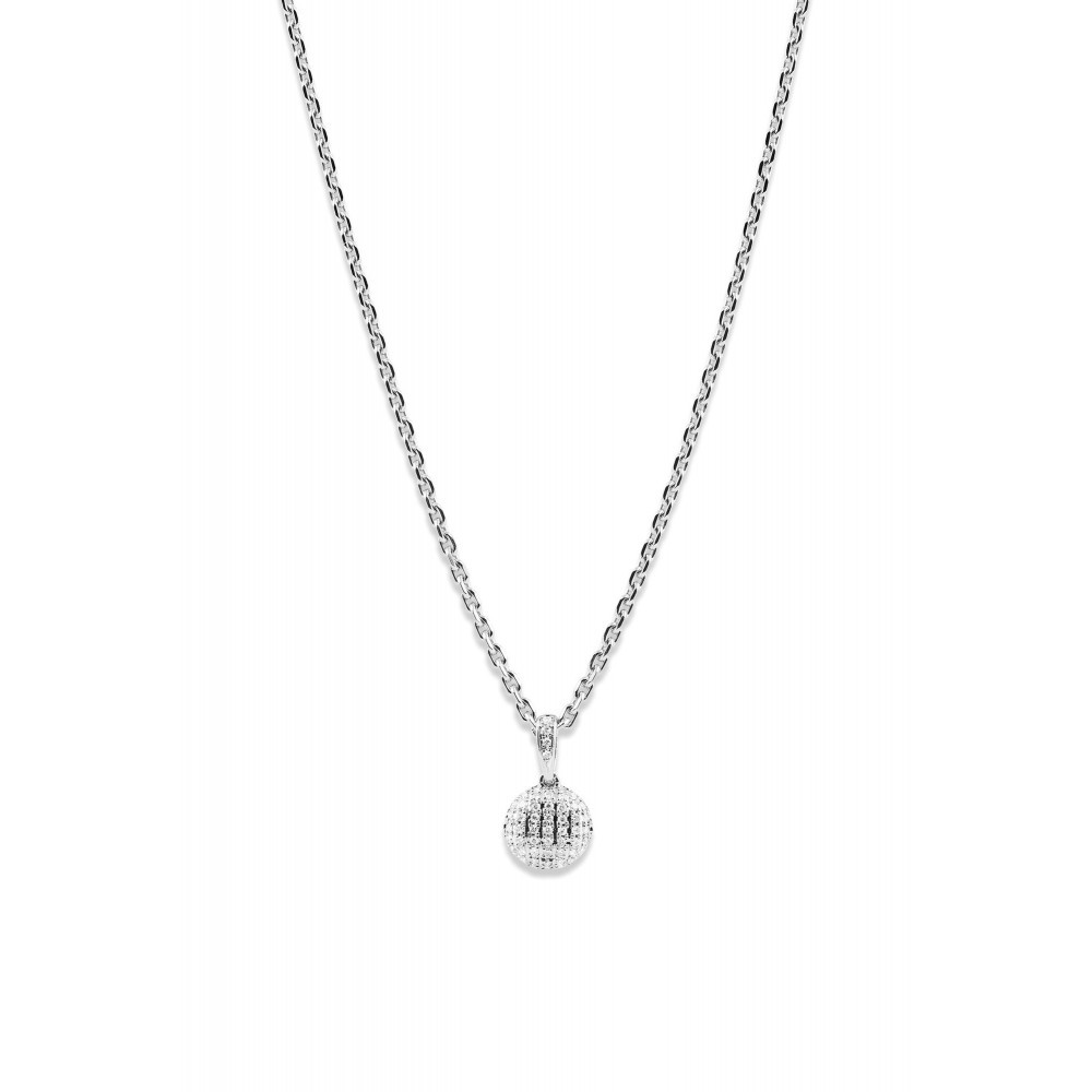 Witgouden hanger rond met diamant 132566DD