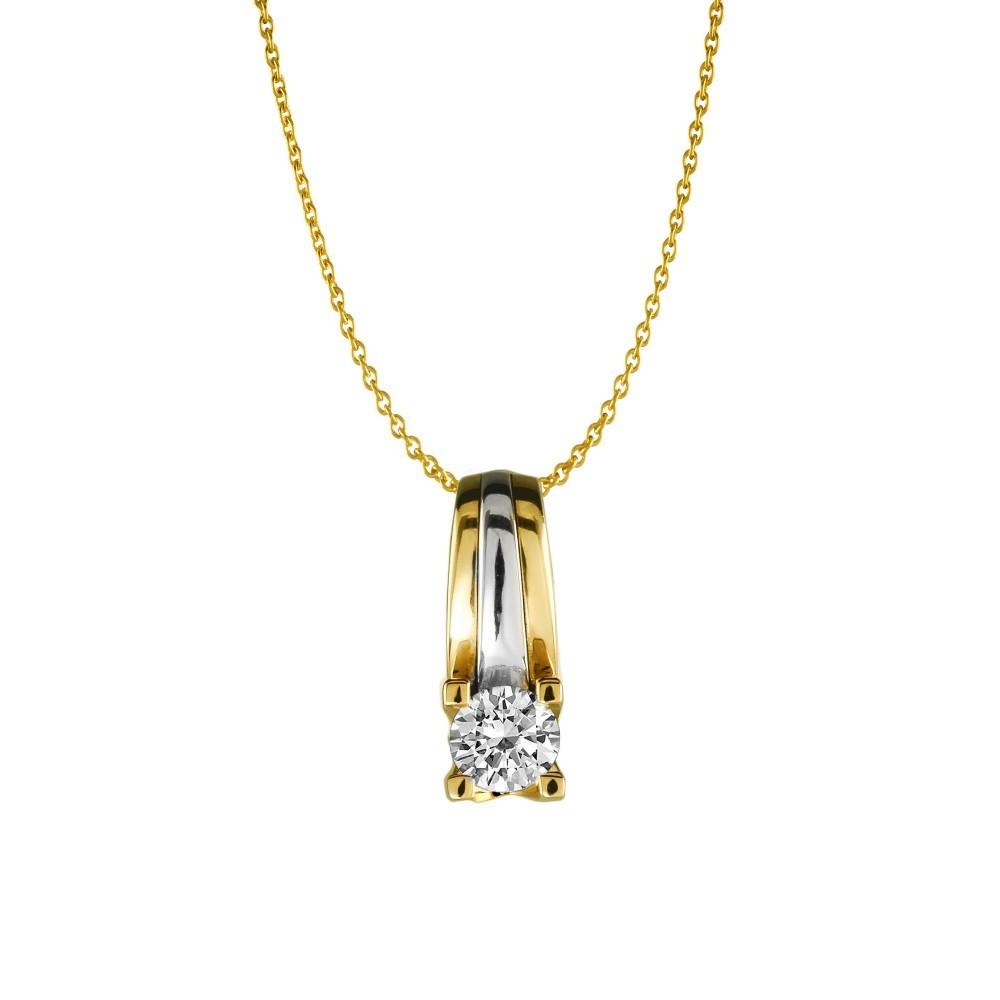 Gouden bicolor hanger 0,10crt SOL-M939-010-G2
