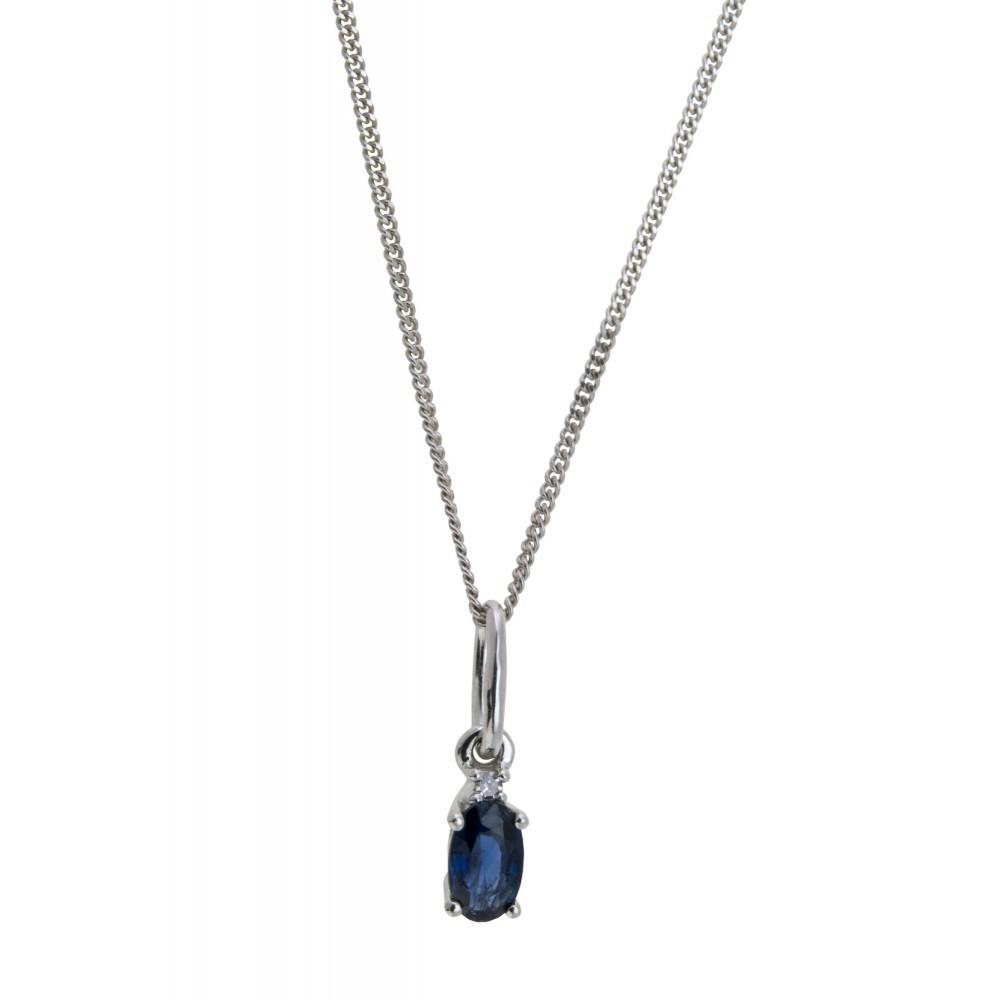 Hanger met diamant en saffier P01-BS-002