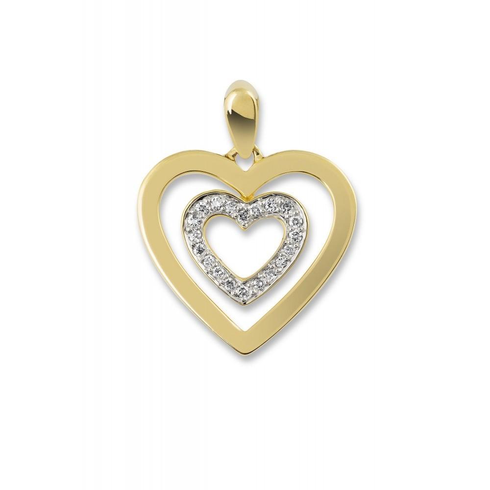 Geelgouden hart met diamant PD11618