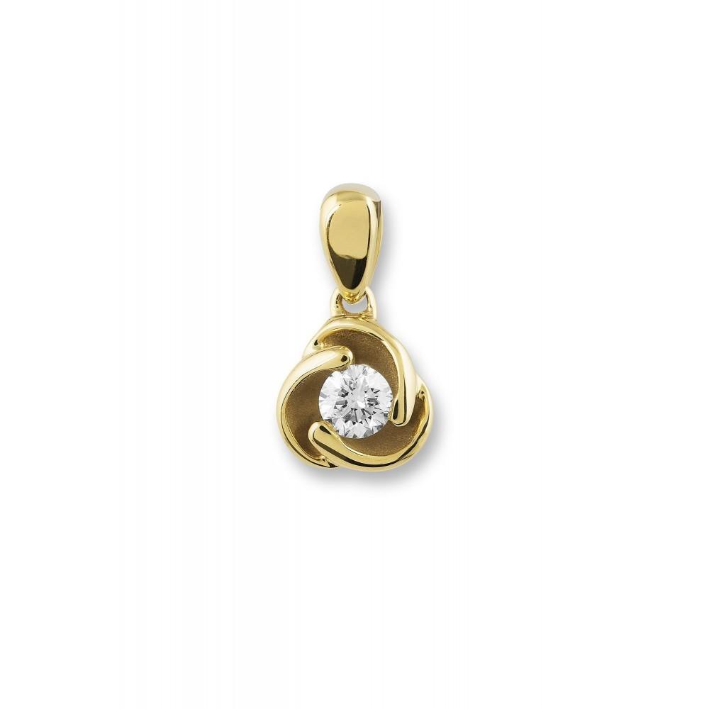 Geelgouden hanger met diamant PD14514
