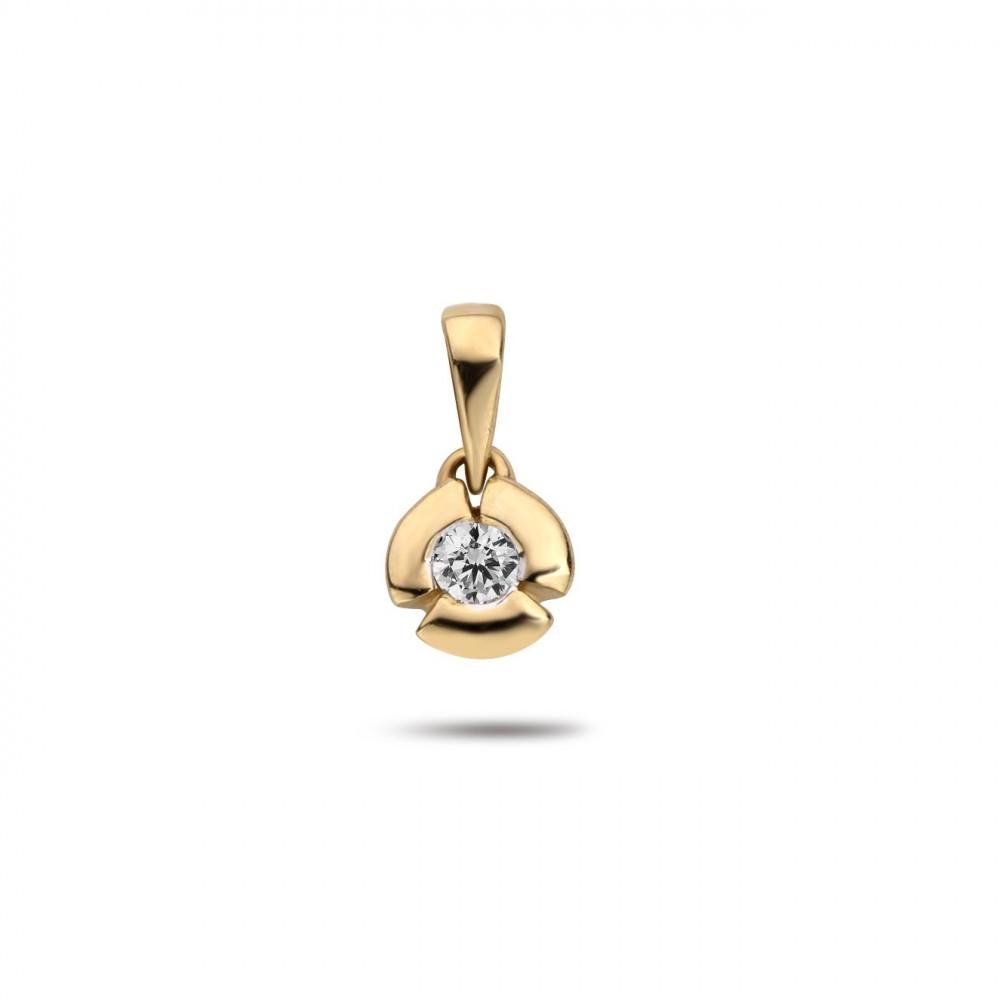 Geelgouden hanger met diamant PD18169
