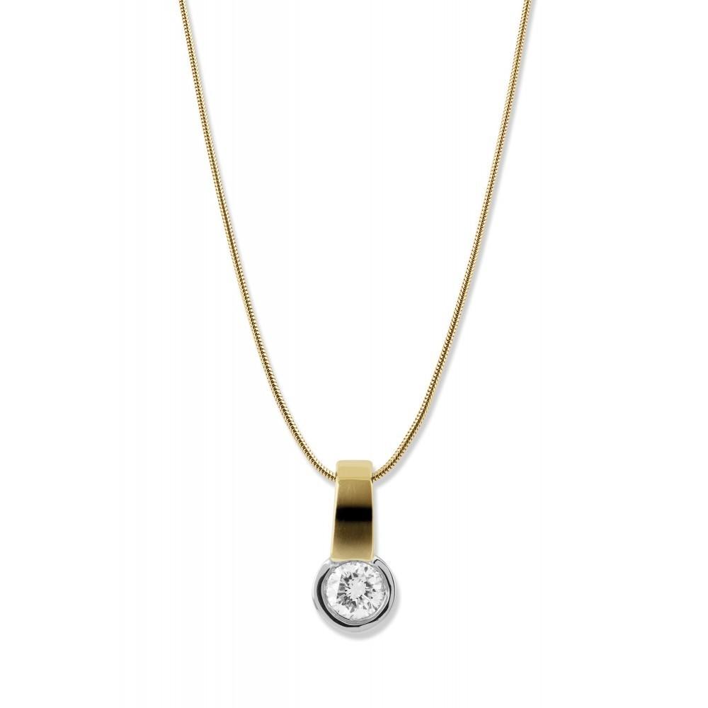 Bicolor gouden hanger met diamant SOL-M989-015-G2