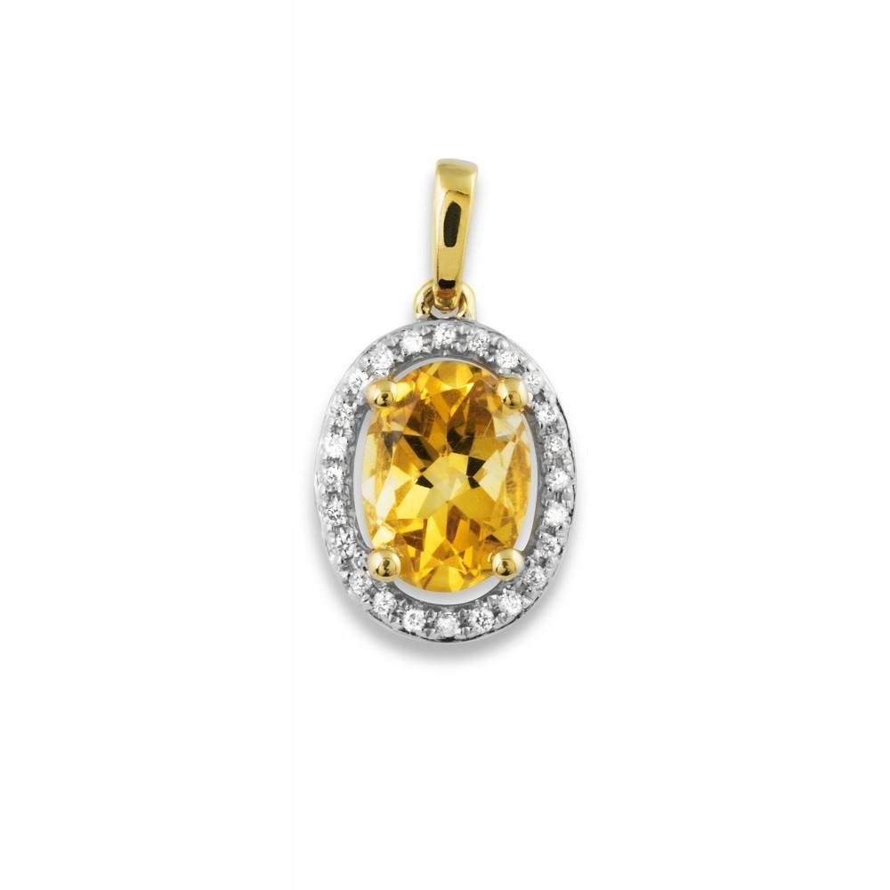 Hanger met diamant en citrien P50360A0S