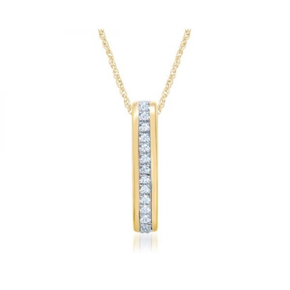 Geelgouden hanger met diamant PEOX4715G