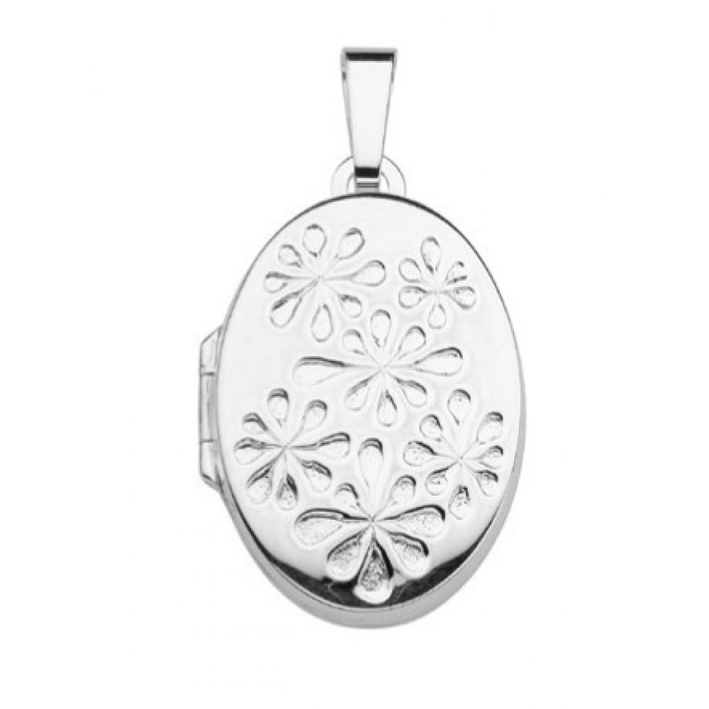 Zilveren dames medaillon hanger 23x17mm 614130003