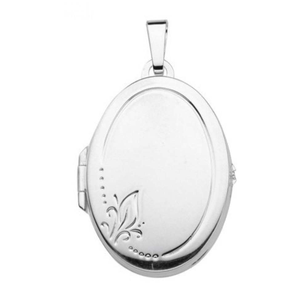 Zilveren dames medaillon hanger 28x20mm 614130005
