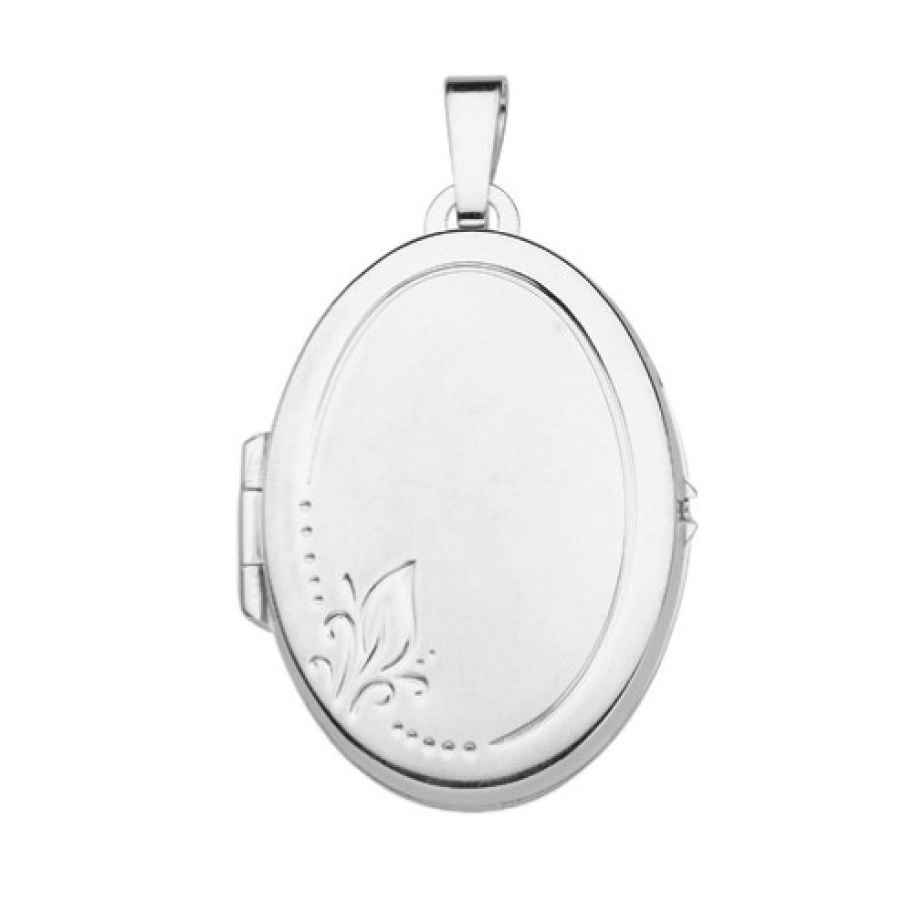Zilveren dames medaillon hanger 28x20mm 614130006